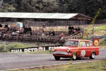 Ford Anglia Superspeed. Chris Craft. Brands Hatch August 1966 colour